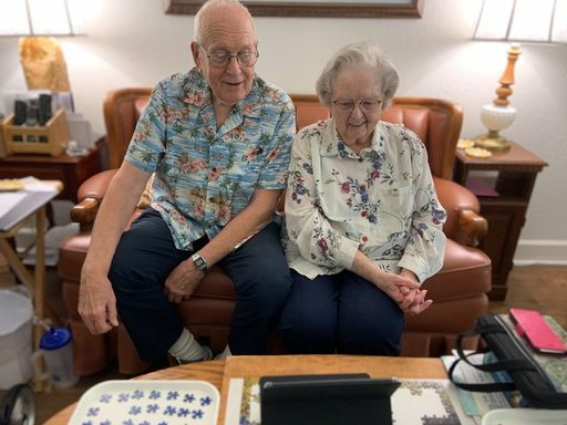 emerald court seniors use videocalling on a tablet